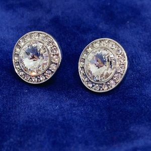 Swarovski Crystal Silver Round Halo Stud Earrings